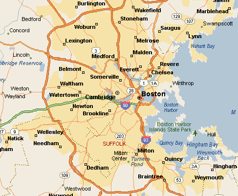 Map of Boston MA Locksmith Service Area